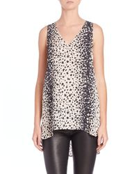 VINCE | Multicolor Leopard-Print V-Neck Top | Lyst