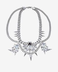 Fallon | Metallic Classique Bib Chain Necklace Silver | Lyst