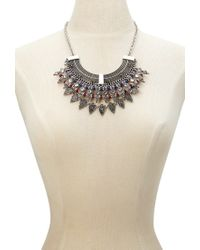 Forever 21 | Blue Beaded Filigree Statement Necklace | Lyst