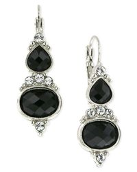 2028 | Metallic Silver-tone Jet Glass Crystal Drop Earrings | Lyst