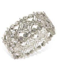 2028 | Metallic Silver-tone Crystal Scroll Bracelet | Lyst