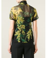 Dolce & Gabbana | Black Pussybow Acacia Print Blouse | Lyst