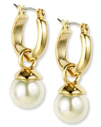 Anne Klein | Metallic Gold-tone Imitation Pearl Drop Off Hoop Earrings | Lyst