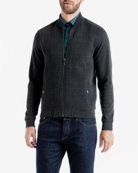 Ted Baker - Gray Quilted Herringbone Bomber Jacket for Men - Lyst
