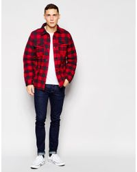 Hollister | Red Quilted Buffalo Check Shirt Jacket for Men | Lyst