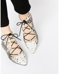 ASOS | Multicolor Lana Pointed Lace Up Ballet Flats | Lyst