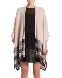 Vince - Brown Wool & Cashmere Striped Poncho - Lyst