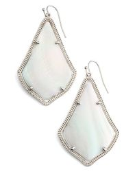 Kendra Scott | 'alexandra' Agate Drop Earrings - Rhodium/ White Mop | Lyst