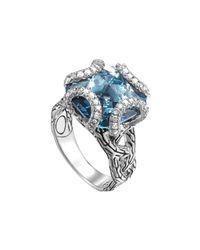 John Hardy | Batu Classic Chain Silver Medium Braided Ring With London Blue Topaz | Lyst