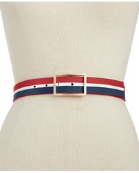 Vince Camuto | Blue Screen Print Stripe Belt | Lyst