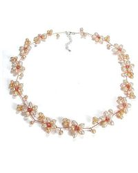 Aeravida | Intricate Pink Pearl Flower Link .925 Silver Necklace | Lyst
