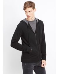 Vince | Black Cashmere Hoodie With Raised Seam Detail for Men | Lyst