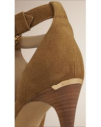 Burberry - Natural Peep-toe Suede Ankle Boots - Lyst