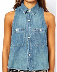 Ralph Lauren - Blue Sleeveless Chambray Shirt - Lyst