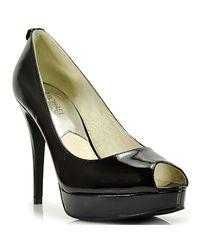 MICHAEL Michael Kors | York Platform Black Patent Leather Peep Toe Pump | Lyst