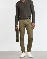 Zara | Natural Pleated Cotton Trousers for Men | Lyst