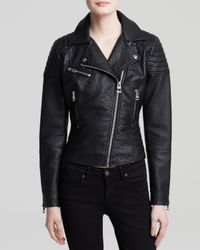 Guess - Black Jacket - Puffy Faux Leather Moto - Lyst