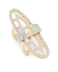 CC SKYE - Metallic Renaissance Pavé Hinged Shield Ring - Lyst