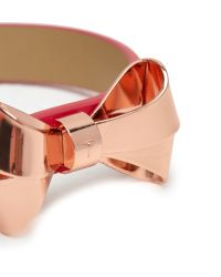 Ted Baker - Red Surane High Shine Leather Bow Bracelet - Lyst