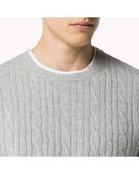 Tommy Hilfiger   Gray Wool Blend Crew Neck Sweater for Men   Lyst