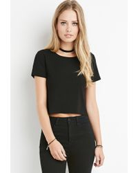 Forever 21 | Black Ribbed Stretch Knit Top | Lyst