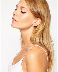 ASOS | Metallic Sterling Silver 10Mm Ball Hoop Earrings | Lyst