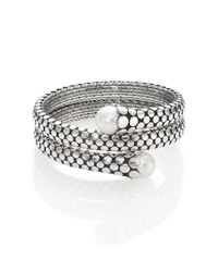 John Hardy | Metallic Dot 11mm White Pearl & Sterling Silver Double Coil Bracelet | Lyst