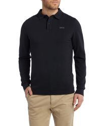True Religion | Black Long Sleeve Leather Patch Logo Polo for Men | Lyst