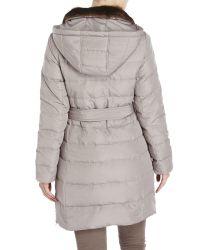Ellen Tracy - Gray Faux Fur Trim Belted Down Coat - Lyst