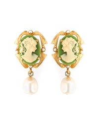 Dolce & Gabbana | Metallic Cameo Clip-on Earrings | Lyst