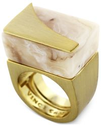 Vince Camuto - Metallic Gold-Tone Natural Horn Resin Block Ring - Lyst