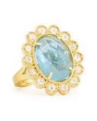 Penny Preville - Blue Oval Rosecut Aquamarine Diamond Scalloped Ring - Lyst