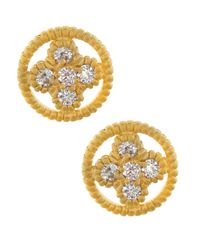Freida Rothman - Metallic 14k Cz Round Clover Stud Earrings - Lyst