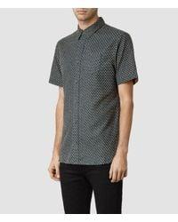 AllSaints | Blue Elmira Mini Print Short Sleeve Shirt for Men | Lyst