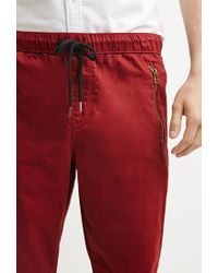 Forever 21 | Red Zip-pocket Chino Joggers for Men | Lyst