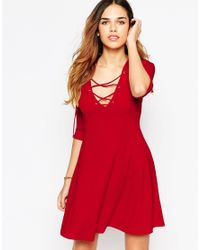 ASOS - Red Skater Dress With Lace Up Front - Lyst