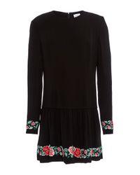 Vilshenko - Black Daisy Embroidered Crepe Mini Dress - Lyst
