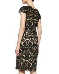 Tadashi Shoji - Black Cap-sleeve Embroidered Sheath Dress - Lyst