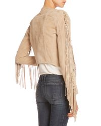 Balmain - Natural Knotted-Fringe Suede Jacket - Lyst