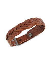 Fossil | Brown Braided Leather Buckle Bracelet | Lyst