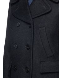 Theory - Black Kenshon' Double Breasted Wool Coat - Lyst