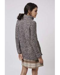 TOPSHOP - Gray Tweed Oversize Rib Roll Jumper - Lyst