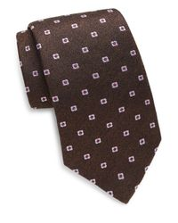Isaia - Brown Herringbone & Floral Embroidered Silk Tie for Men - Lyst