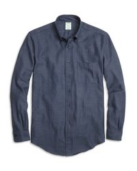 Brooks Brothers | Blue Brooksflannel® Milano Fit Herringbone Sport Shirt for Men | Lyst