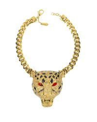 Roberto Cavalli - Metallic Panther Golden Necklace Wcrystals and Glaze - Lyst
