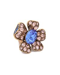 Oscar de la Renta - Metallic Flower Ring - Lyst