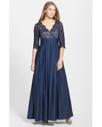 Eliza J - Blue Lace & Faille A-line Gown - Lyst