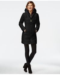 Vince Camuto | Black Knit-trim Quilted Down Coat | Lyst
