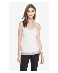 Express | White Lace Trim Cami | Lyst