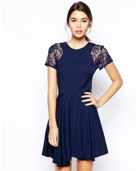 Love | Blue Skater Dress With Lace Insert Sleeve | Lyst